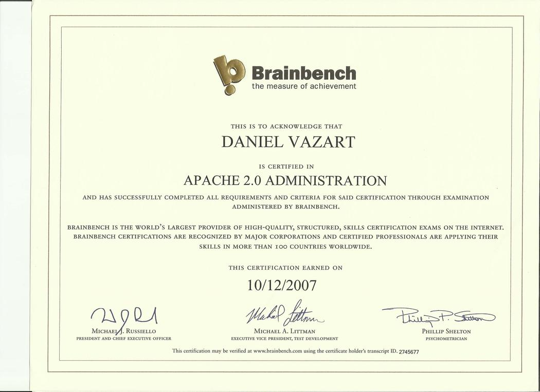Brainbench: Apache 2.0 Administration