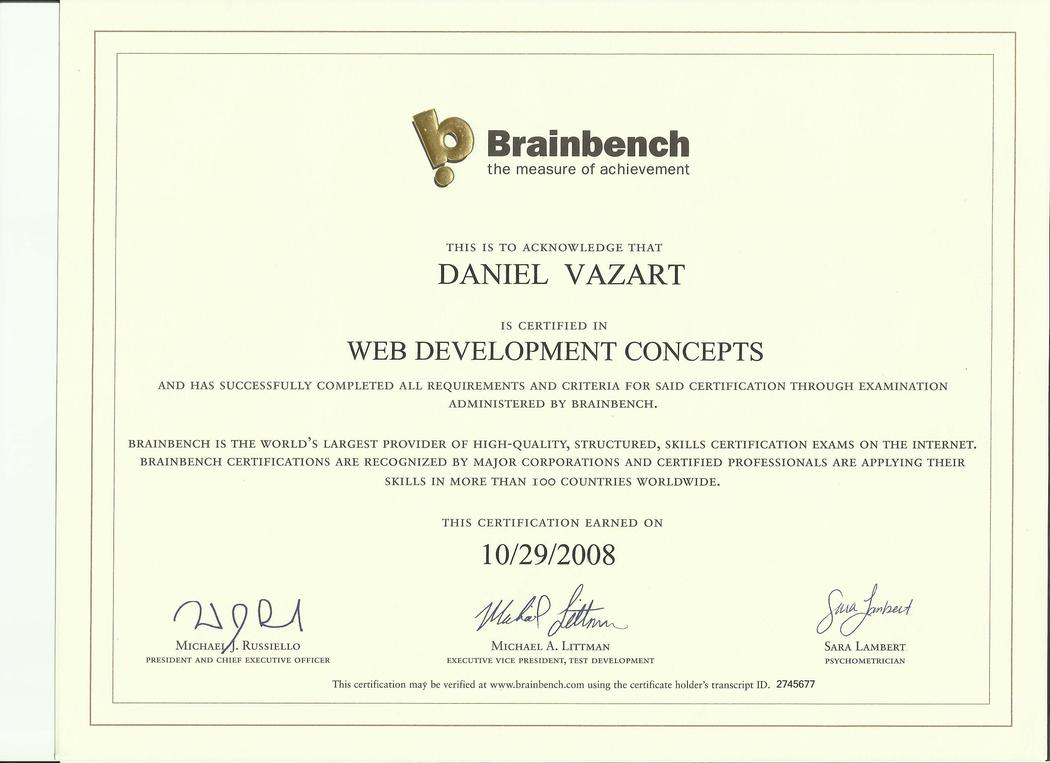 Brainbench: Web Development Concepts